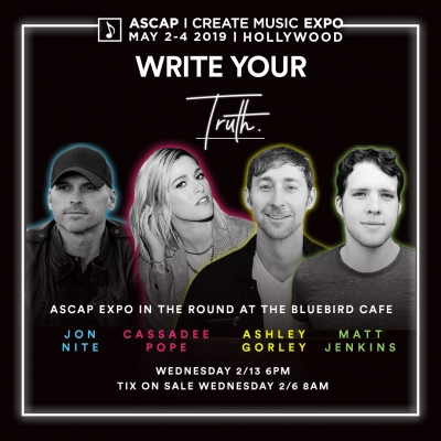 ASCAP I Create Music Expo In The Round: Ashley Gorley, Cassadee Pope, Matt Jenkins And Jon Nite At The Bluebird Cafe—Feb 13